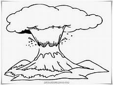 Gambar Mewarnai Gunung Meletus Erupsi