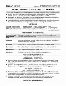 sle resume for a midlevel it help desk professional