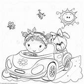 Free Instant Downloads Cute Cartoon Car Little Girl And