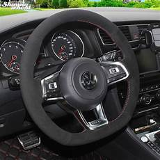 shining wheat black suede steering wheel cover for