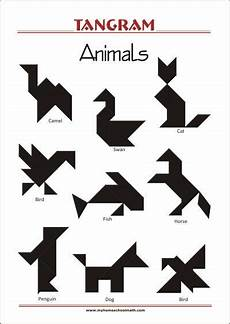 Tangram Kinder Malvorlagen Tutorial Tangram Animals Worksheets With Solutions Try To Solve