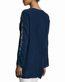 johnny was sunrise embroidered blouse in blue lyst