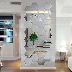 hexagonal 3d mirrors wall stickers home decor living room mirror wall sticker en ebay