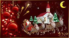 happy new year 2019 merry christmas christmas greeting card santa claus and reindeer church