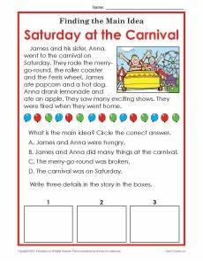 1st or 2nd grade main idea worksheet about carnivals