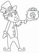 Leprechaun Coloring Page Holding Pot Of Gold A Cartoon Chef