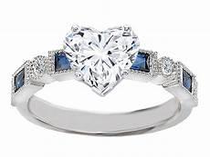 engagement ring heart shape diamond engagement ring blue