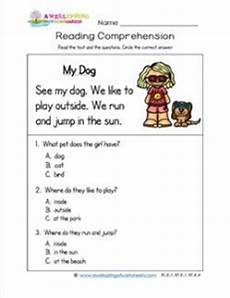 kindergarten reading comprehension my dog wellspring