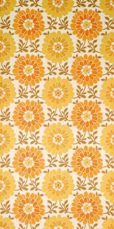 60er Jahre Tapete Mit Orangen Und Gelben Blumen Sch 246 N