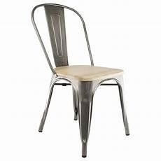 Chaise Industrielle Bistrot Avec Assise En Bois