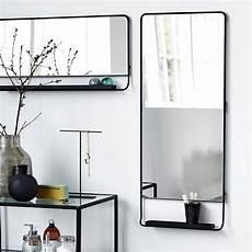 Miroir Salle De Bain Vertical Cadre Noir Et Tablette