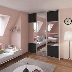 porte coulissante placard porte de placard coulissante gris graphite miroir spaceo