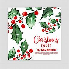 merry christmas invitation card vector watercolor merry christmas party invitation card vector premium download