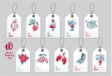 collection merry christmas gift tags with handwritten calligraphy lettering text premium vector
