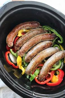 easy crock pot slow cooker sausage and peppers recipe spatula