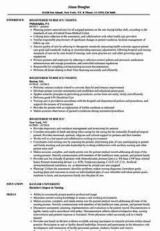 registered nurse icu resume sles velvet