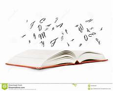 libro lettere d book with letters flying out of it stock photo image