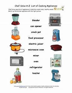 find the kitchen appliance matching worksheet