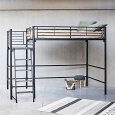 lit mezzanine deux places lit mezzanine 2 places en acier noir avec plateforme