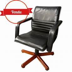 fauteuil de bureau pivotant cuir et bois majdeltier