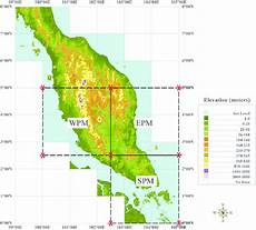 the digital elevation of peninsular malaysia showing the study areas wpm epm and spm