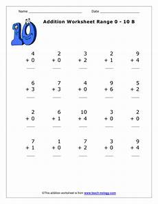 addition worksheets with zero 9669 addition of numbers between 1 and 10 version 2