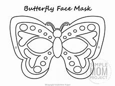 free printable butterfly mask template coloring page in