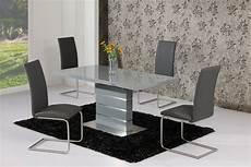 Esstisch Hochglanz Grau - extending grey high gloss dining table and 4 grey chairs