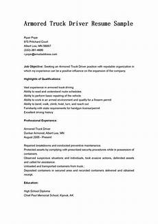 driver resumes armored truck driver resume sle