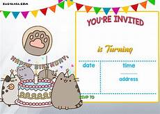 free printable birthday invitation cards templates free printable pusheen birthday invitation template free