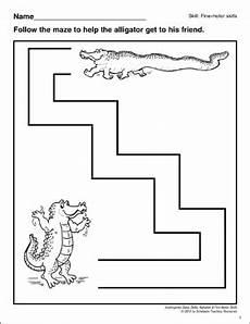 alligator maze motor skills printable skills sheets and mazes