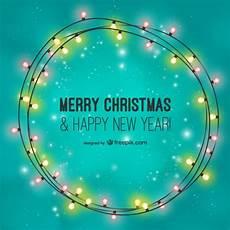 merry christmas card with light bulbs free vector