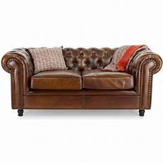 Canap 233 2 Places Chesterfield En Cuir Marron Vintage Saulaie