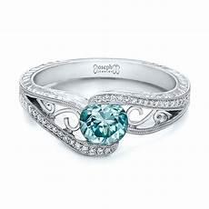 custom blue zircon and diamond engagement ring 100645 seattle bellevue joseph jewelry