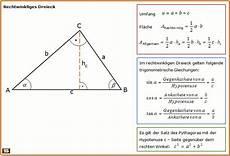 rechtwinkliges dreieck formel zu fl 228 chenberechnung und