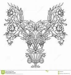 outline vintage flowers bouquet or pattern stock vector illustration of adult garden 93682652