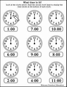 time on the hour worksheets for kindergarten 3611 pin di math