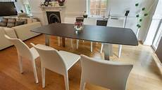 Extending Wood 8 Seater Dining Table Brushed Metal