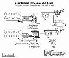 2 humbuckers coil split wiring diagram for guitarelectronics guitar wiring diagram 2 humbuckers 3 way toggle switch 2 volumes 2 tones