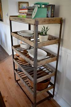 etagere metal industrial shelving for bread antique in metal and wood