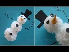 schneemann basteln mit bommel basteln im winter mit