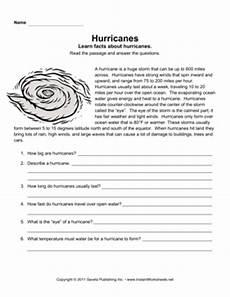 hurricane worksheets for elementary hurricane comprehension