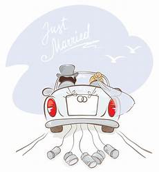 newlyweds in a car stock vector illustration of