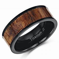 mens 8mm black titanium real koa inlay wedding ring ring band inlay rings at elma