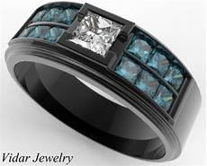 men s black gold blue diamonds wedding band vidar jewelry unique custom engagement and