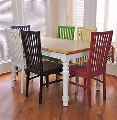 Colored Kitchen Chairs farmhouse kitchen table and six multi colored chairs ebth