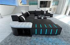 sofa mit led xxl sectional sofa bellagio led u shaped black white ebay