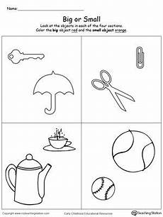 comparing objects sizes big and small printable preschool worksheets kindergarten math