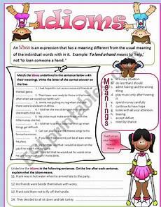 idioms esl worksheet by tech teacher