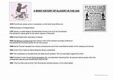 slavery worksheets a brief history of slavery in the usa worksheet free esl printable worksheets made by teachers